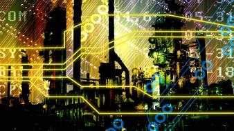 Cityscapes multicolor technology numbers circuits circuit board wallpaper