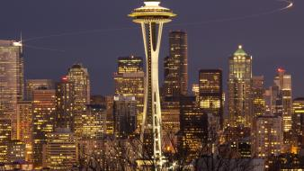 Cityscapes night seattle city lights space needle buldings Wallpaper