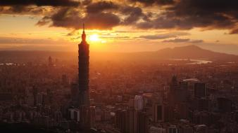 Clouds cityscapes buildings skyscrapers taiwan taipei 101 cities wallpaper