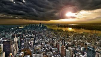 Clouds cityscapes new york city skyscrapers wallpaper
