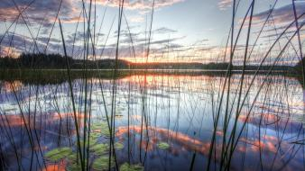 Clouds lakes hdr photography flora reflections wallpaper