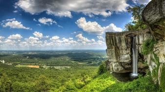 Clouds landscapes nature forest earth waterfalls cliff viewscape wallpaper