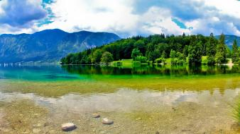 Clouds landscapes nature forest slovenia lakes wallpaper
