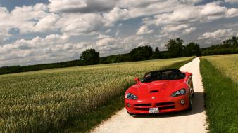 Clouds nature red cars fields dodge viper skies wallpaper
