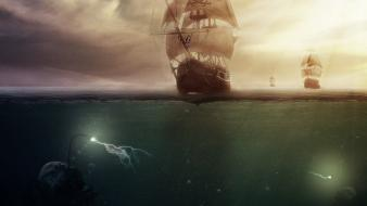 Clouds ships fantasy art artwork underwater sea wallpaper