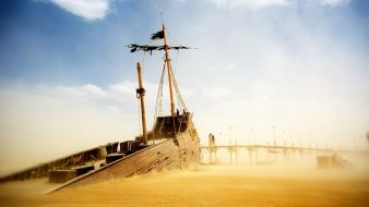 Desert ships wrecks wallpaper