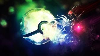 Digital art 3d fan ghost dialga pokeball wallpaper