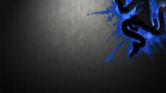 Digital art logos logo black and blue wallpaper