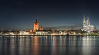 Dusk rivers rhine view köln panoramic rhein wallpaper