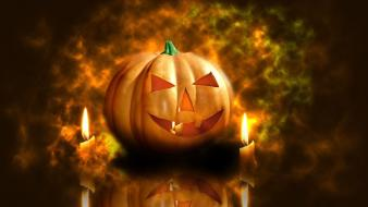 Halloween candles pumpkins wallpaper