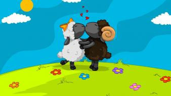 Kissing sheep digital art wallpaper