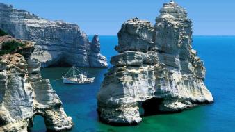 Landscapes ships islands greece milos rock formations wallpaper