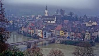 Landscapes trees houses europe switzerland rivers village Wallpaper