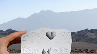 Mountains love couple balloons pencil vs camera wallpaper
