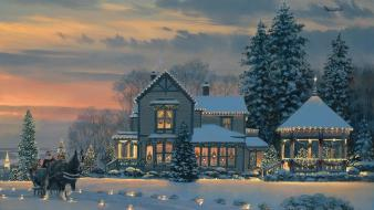 Paintings houses christmas wallpaper