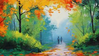 Paintings nature love people artwork autumn Wallpaper