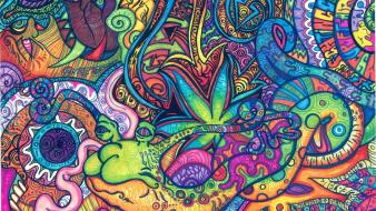 Psychedelic trippy artwork traditional art snail Wallpaper