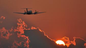 Sunset aircraft aviation beechcraft king air wallpaper