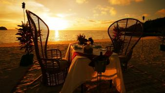 Sunset nature beach romantic dinner wallpaper