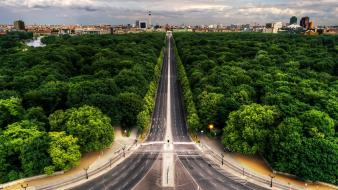 Trees cityscapes streets germany berlin roads Wallpaper