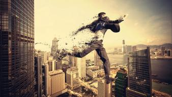 Unreal skyscapes photomanipulation cities fade jump skies wallpaper