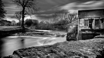 Water black and white landscapes nature dam house Wallpaper