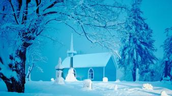 Winter church wallpaper