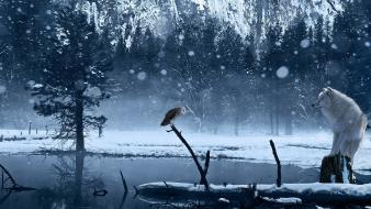Winter snow trees animals ponds owls wolves wallpaper
