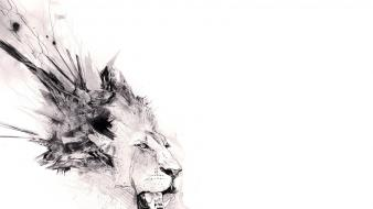 Abstract minimalistic animals artwork lions white background Wallpaper