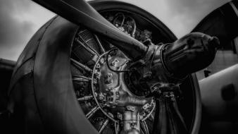 Aircraft grayscale propeller radial engine wallpaper