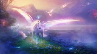 Art glowing horses mythology colors iridescence birds wallpaper