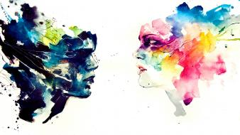 Artwork faces white background agnes cecile solo Wallpaper
