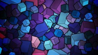 Blue geometry cubes stained glass Wallpaper