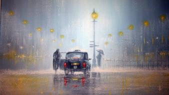 Cars london people taxi artwork jeff rowland wallpaper