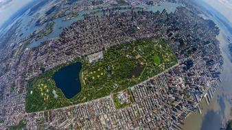 City central park fisheye effect aerial view wallpaper