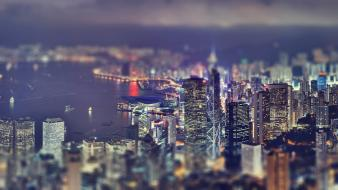 Cityscapes night buildings tilt-shift cities wallpaper