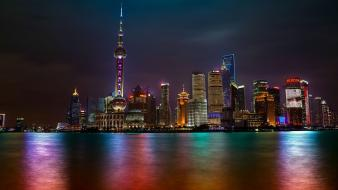 Cityscapes night multicolor skyscrapers shanghai buldings wallpaper