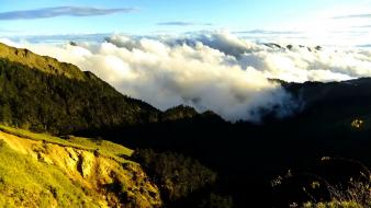 Clouds landscapes nature sunlight taiwan mountain view Wallpaper