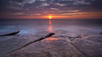 Coast sun horizon seascapes wallpaper