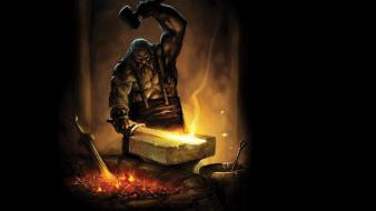 Fantasy art dwarfs anvil swords smithing wallpaper