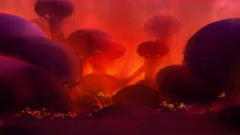 Fantasy mushrooms city lights alien landscapes marshland wallpaper