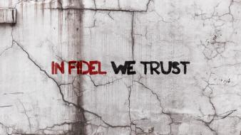 Fidel castro in god we trust plaster wallpaper