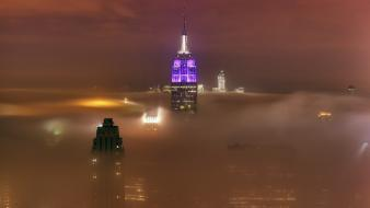 Fog new york city empire state building cities wallpaper
