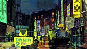 Futuristic artwork syd mead future cars cities wallpaper