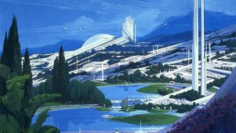 Futuristic artwork syd mead future cities Wallpaper