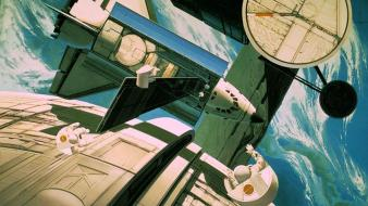Futuristic space shuttle astronauts station artwork syd mead wallpaper