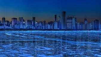 Ice snow chicago frozen lake skyline Wallpaper
