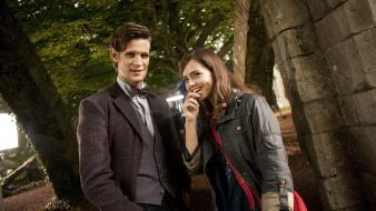 Matt smith eleventh doctor who jenna-louise coleman wallpaper