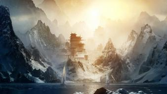Mountains japanese boats artwork temple wallpaper