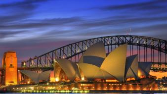 Night opera house australia harbor sydney harbour bridge wallpaper